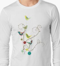 Colorful Whimsical Red Teal and Yellow Summer Birds with Swirls Long Sleeve T-Shirt