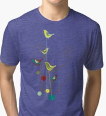 Colorful Whimsical Red Teal and Yellow Summer Birds with Swirls Tri-blend T-Shirt