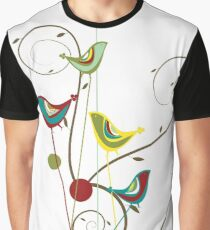 Colorful Whimsical Red Teal and Yellow Summer Birds with Swirls Graphic T-Shirt