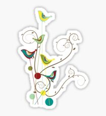 Colorful Whimsical Red Teal and Yellow Summer Birds with Swirls Sticker