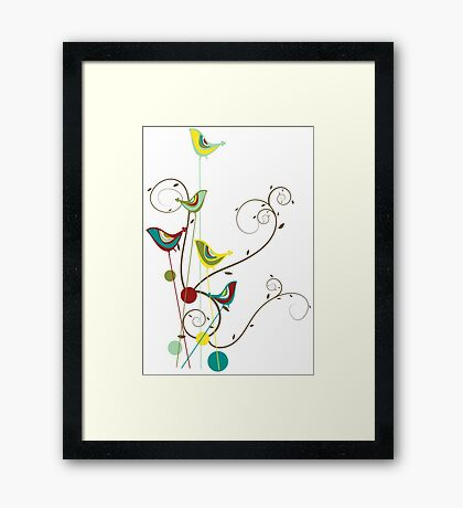 Colorful Whimsical Red Teal and Yellow Summer Birds with Swirls Framed Print