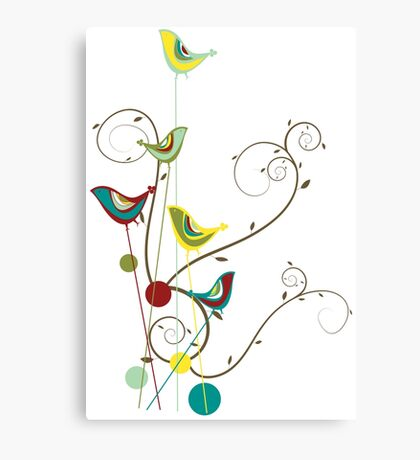 Colorful Whimsical Red Teal and Yellow Summer Birds with Swirls Canvas Print