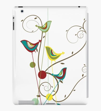 Colorful Whimsical Red Teal and Yellow Summer Birds with Swirls iPad Case/Skin