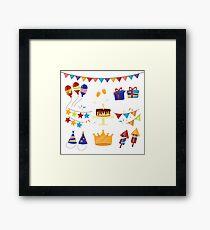 Happy Birthday Party Celebration Elements Set Framed Print