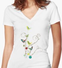 Colorful Whimsical Summer Red, Teal and Yellow Birds with Swirls Women's Fitted V-Neck T-Shirt
