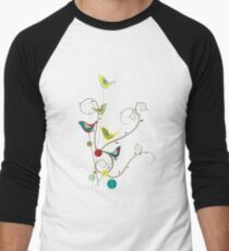 Colorful Whimsical Summer Red, Teal and Yellow Birds with Swirls Men's Baseball ¾ T-Shirt