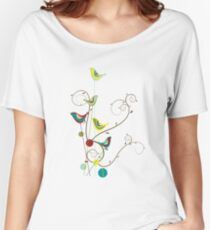 Colorful Whimsical Summer Red, Teal and Yellow Birds with Swirls Women's Relaxed Fit T-Shirt