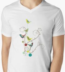 Colorful Whimsical Summer Red, Teal and Yellow Birds with Swirls Men's V-Neck T-Shirt
