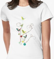 Colorful Whimsical Summer Red, Teal and Yellow Birds with Swirls Women's Fitted T-Shirt