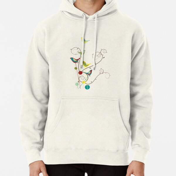 Colorful Whimsical Summer Red, Teal and Yellow Birds with Swirls Pullover Hoodie
