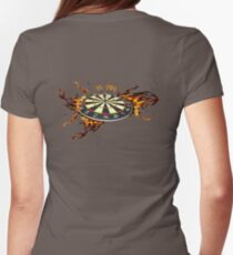 Flaming Dart Board Womens Fitted T-Shirt