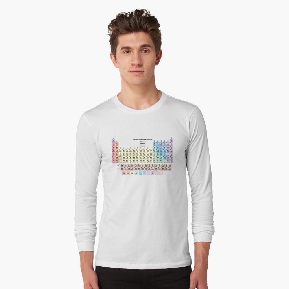 Tabla periódica con todos los 118 nombres de elementos Camiseta de manga larga