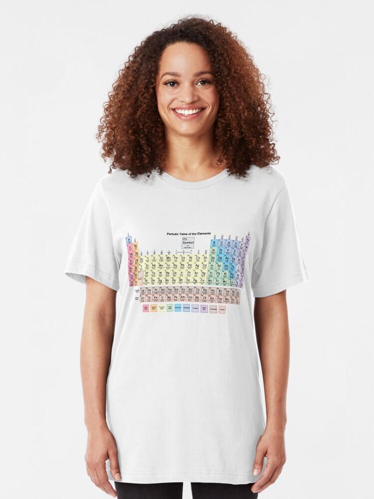 Vista alternativa de Camiseta ajustada Tabla periódica con todos los 118 nombres de elementos