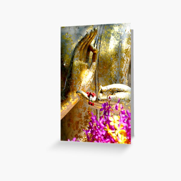 Buddha Hands And Flowers Greeting Card