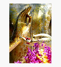 Buddha Hands And Flowers Photographic Print