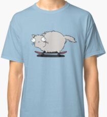 Gray Cat With Funny Eyes Skateboarding Classic T-Shirt