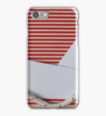 paper yacht on red striped sea iPhone Case/Skin