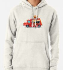 Street Food Concept with Burger Food Truck and Seller Pullover Hoodie