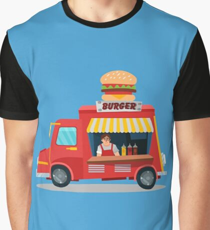 Street Food Concept with Burger Food Truck and Seller Graphic T-Shirt