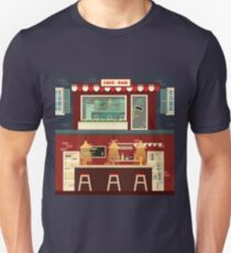 Cafe-Bar Facade and Interior in flat style T-Shirt