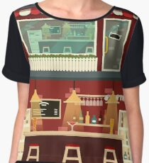 Cafe-Bar Facade and Interior in flat style Women's Chiffon Top