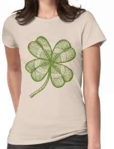Vintage lucky clover Womens Fitted T-Shirt
