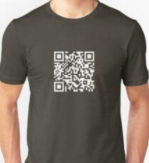 Barcode Rickroll! (white) T-Shirt