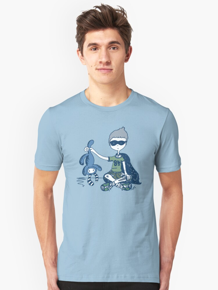 Boy with Knife (navy) Unisex T-Shirt Front