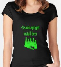 Linux sudo apt-get install beer Women's Fitted Scoop T-Shirt
