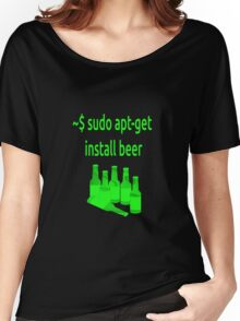 Linux sudo apt-get install beer Women's Relaxed Fit T-Shirt
