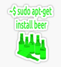 Linux sudo apt-get install beer Sticker
