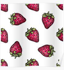 Berry color Hand drawn vector set. Fruit botany illustration. Berries engraving doodle sketch etch line. Strawberry. Dessert ingredient Poster