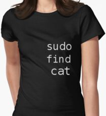 Sudo find cat Women's Fitted T-Shirt