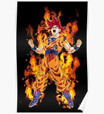 Goku ssj God Power Poster