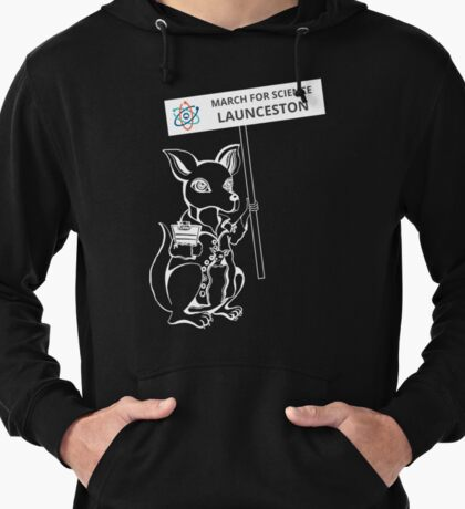 March for Science Launceston – Kangaroo, white Lightweight Hoodie