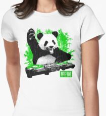DJ Panda (vintage distressed look) Womens Fitted T-Shirt