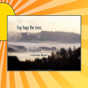 foggy sunrise, Columbia River, Oregon, Haiku sunny background by PoemsProseArt