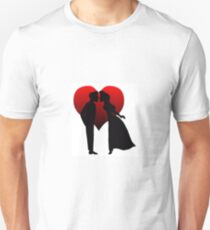 Man and Woman Kissing with Heart T-Shirt
