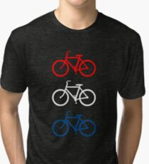 BICYCLE DESIGN 2 RED WHITE BLUE Tri-blend T-Shirt