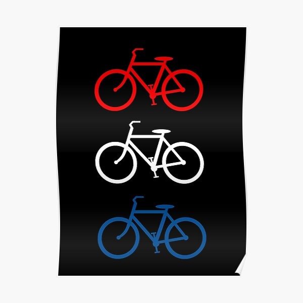 BICYCLE DESIGN 2 RED WHITE BLUE Poster