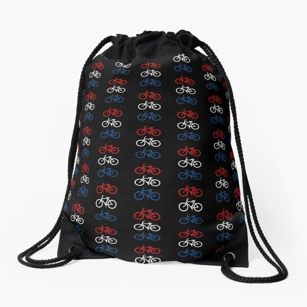 BICYCLE DESIGN 2 RED WHITE BLUE Drawstring Bag
