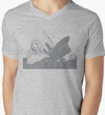 Giant Sloth Sinking Ship in Ocean Mens V-Neck T-Shirt