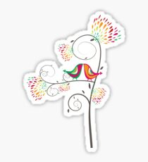 Whimsical Tropical Summer Kissing Birds with Colorful Rainbow Floral Blooms Sticker