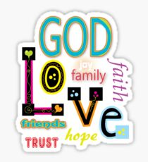 Love God And Family Sticker