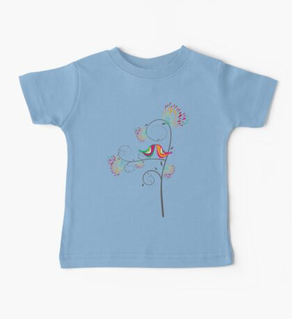 Whimsical Tropical Summer Kissing Birds with Colorful Rainbow Floral Blooms Kids Clothes
