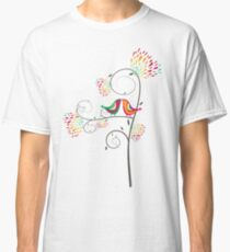 Whimsical Tropical Summer Kissing Birds with Colorful Rainbow Floral Blooms Classic T-Shirt