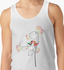 Whimsical Tropical Summer Kissing Birds with Colorful Rainbow Blooms Tank Top