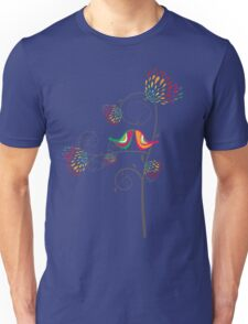 Whimsical Tropical Summer Kissing Birds with Colorful Rainbow Floral Blooms Unisex T-Shirt
