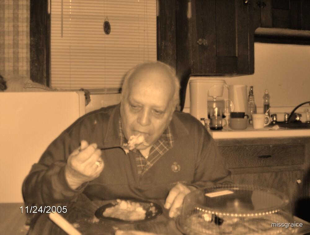 Grampy eats pie by missgraice