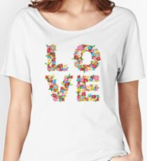 LOVE Spring Flowers in Red Women's Relaxed Fit T-Shirt